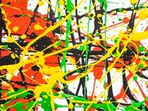 Bespatte de kunst morste geelgroene rode zwarte verf expressionism stock afbeeldingen