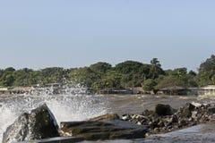 Bespattend water bij San Jorge Pier Royalty-vrije Stock Afbeeldingen