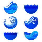 Bespattende golven en wateremblemen Abstracte vectortekens Stock Fotografie
