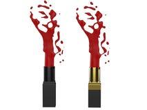 Bespattende rode lippenstift Stock Foto