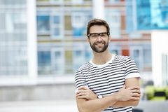 Bespectacled and confident man Stock Images