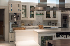 Bespoke Kitchen. Luxury and Contemporary Stylish Bespoke Kitchen Dinner with Modern Appliances and Furniture Stock Images