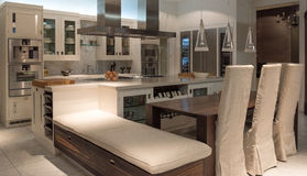 Bespoke Kitchen. Luxury and Contemporary Stylish Bespoke Kitchen Dinner with Modern Appliances and Furniture Royalty Free Stock Image
