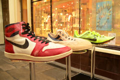 Bespoke nike trainers. Exhibition of bespoke sport shoes in Covent Garden, London, October 2012 Stock Photo