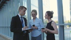 Bespreek bedrijfskwesties met bureaucollega's stock video