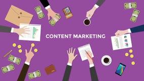 Bespreek inhoud marketing concept in een vergaderingsillustratie met administratie, omslagdocument, geld en muntstukken bovenop royalty-vrije illustratie