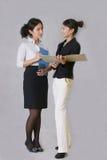 Bespreking aan vrouwelijk personeel Stock Foto's