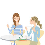 Bespreking in een koffie royalty-vrije illustratie