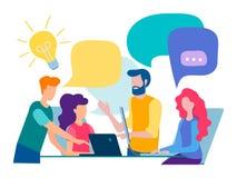 Bespreking en mededeling in het bureau vector illustratie