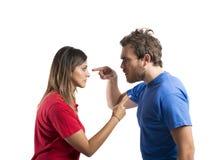 Bespreking tussen echtgenoot en vrouw stock foto's