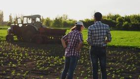 Bespreking van twee landbouwers op het gebied stock video