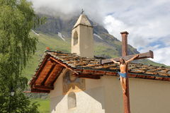 BESSANS, FRANCE: St Sebastian Chapel in Vanoise National Park, Northern Alps Royalty Free Stock Images