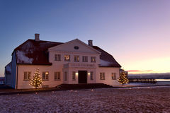 Bessastadir, Iceland. Bessastadir. The presidential residence in Iceland. Shot 2. of january, a cold winter morning, just before Icelands president, Olafur stock image