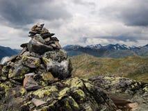 Bessegen ridge with trail mark, Norway Royalty Free Stock Photo