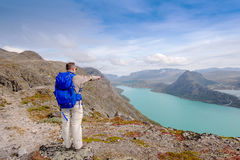 Besseggen ridge at Jotunheimen National Park man Stock Photos