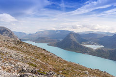 Besseggen ridge at Jotunheimen National Park overlooking Lake Gj Royalty Free Stock Photo