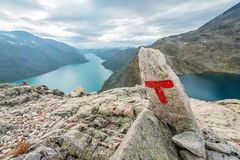Besseggen ridge at Jotunheimen National Park red letter T Royalty Free Stock Photo
