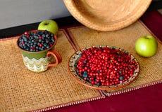 Bessen en appelen op de lijst Royalty-vrije Stock Afbeelding
