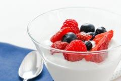 Bessen en Yoghurt Royalty-vrije Stock Foto's