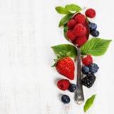 Bessen met lepel op Houten Achtergrond Gezondheid, Dieet, Gardenin Stock Fotografie