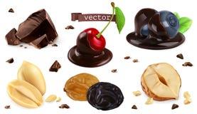 Bessen, noten en chocolade Bosbes, kers, pinda, hazelaar, rozijn, 3d vectorreeks royalty-vrije illustratie