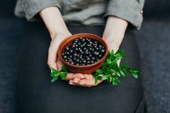 Bessen van zwarte bes in platen in vrouwelijke handen Vitaminen en gezond het eten concept stock fotografie