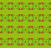 Bessenpatroon op een groene achtergrond Stock Foto