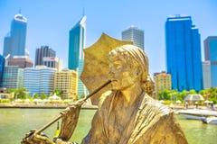 Bessie Statue at Elizabeth Quay. Perth, Western Australia - Jan 3, 2018: Bessie Rischbieth Statue by artist Jon Tarry at Elizabeth Quay on the Swan River stock photos