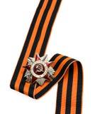 Beställning av det patriotiska krig- och St George bandet på vit backgr Royaltyfria Foton