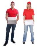 Beställning för kvinnan för pizzaleveransmannen som levererar den unga fulla kroppen för jobbet, är fotografering för bildbyråer