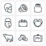 Beställnings- bröllop - symboler för brudpris också vektor för coreldrawillustration Royaltyfri Bild