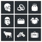 Beställnings- bröllop - symboler för brudpris också vektor för coreldrawillustration Royaltyfri Fotografi