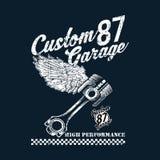 Beställnings- motorcykelemblem för tappning, etiketter, emblem, logoer, tryck, mallar I lager isolerat p? l?tt ryttare f?r m?rk b royaltyfri illustrationer