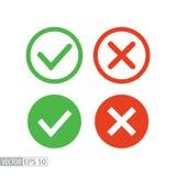 Bestätigen Sie und verweigern Sie flache Ikone Vector Logo für Webdesign, Mobile und infographics Lizenzfreie Stockfotos