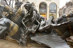 Beståndsdel av den Brunnen för Ehekarussell förbindelsekarusell springbrunnen i Nuremberg Arkivbild