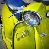 Beståndsdel av den Lambretta X150 sakkunniga - iconic italiensk sparkcykel Apple - grönt lammy, 1968 Royaltyfri Bild