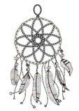 Beståndsdel för design för boho för färgrika för färgpulverillustration för hand utdragna jägare dröm- stam- vektor illustrationer