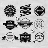 Beståndsdel för design för emblem för fotbollfotbolltypografi Arkivbilder