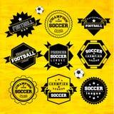 Beståndsdel för design för emblem för fotbollfotbolltypografi Arkivfoton