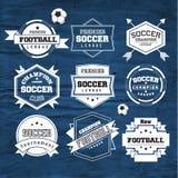 Beståndsdel för design för emblem för fotbollfotbolltypografi Fotografering för Bildbyråer
