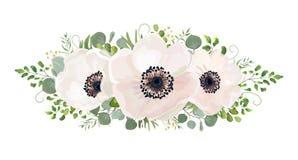 Beståndsdel för design för vattenfärg för blommabukettvektor Persika rosa whi Royaltyfri Fotografi