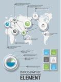 Beståndsdel för det geometriska diagramet exponeringsglas för infographic diagrammall Royaltyfri Bild