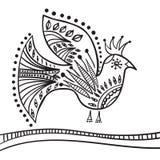 Beståndsdel för handteckningszentangle Dekorativ abstrakt fågel Royaltyfri Fotografi