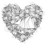 Beståndsdel för handteckningszentangle svart white Royaltyfri Foto