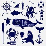 Beståndsdel för havsliv, symbolsuppsättning vektor illustrationer