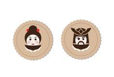 Beståndsdel för logo för samuraj- och geishateceremoni stock illustrationer