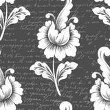 Beståndsdel för modell för vektorblomma sömlös med forntida text Elegant textur för bakgrunder royaltyfri illustrationer