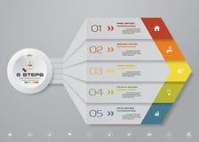 beståndsdel för pil för 5 moment infographic för presentation Arkivfoton