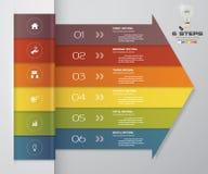 beståndsdel för pil för 6 moment infographic för presentation Arkivbild