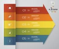 beståndsdel för pil för 5 moment infographic för presentation Royaltyfri Foto